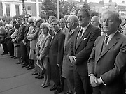 Removal of the Remains of Mr.George Colley..1983.19.09.1983.09.19.1983.19 September 1983..Photograph of the arrival of the Mortal Remains of Mr George Colley to the Church Of Three Patrons, Rathgar. In attendance among the huge crowd were Mr Charles Haughey TD and Mr Brian Lenihan TD representing Fianna Fail.<br /> Mr. George Colley. (18/10/1925 - 17/09/1983)  Fianna Fáil (Fianna Fáil members of the 22nd Dáil). House: 24th Dáil