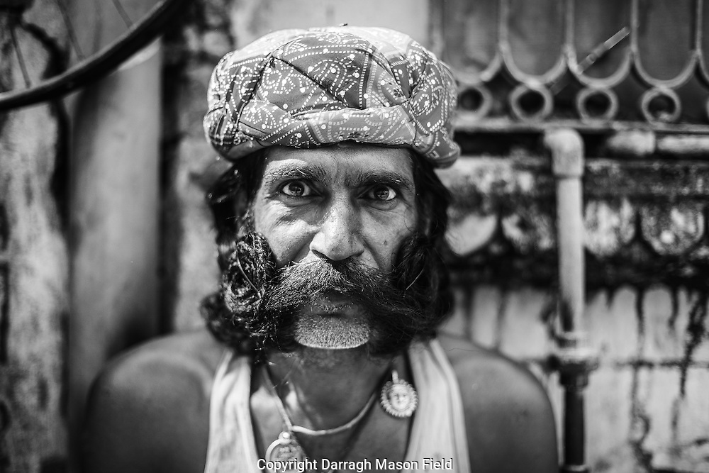 Rajasthani moustache champion outside his home in Bikaner, northern Rajasthan.