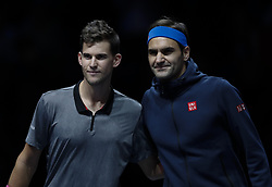 2018?11?13?.       ?????1???——ATP???????????????.        11?13?????????????????? .       ???????????2018ATP?????????????????????????2?0??????????.      ????????.(SP)BRITAIN-LONDON-TENNIS-ATP WORLD TOUR FINALS-DAY 3 .(181113) -- LONDON, Nov. 13, 2018  Roger Federer (R) of Switzerland poses with Dominic Thiem of Austria before the singles match during Day 3 of the 2018 Nitto ATP World Tour Finals at The O2 Arena in London, Britain on Nov. 13, 2018. (Credit Image: © Xinhua via ZUMA Wire)
