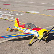 September 9, 2012 - Brooklyn, NY : Once New York City's municipal airport, Floyd Benneyt Field is now administered by the Parks Department as a recreation site. The old runways remain -- providing ideal space to ride bikes and fly model airplanes.  Pictured here, a large-scale model airplane sits on the runway at Floyd Bennett Field. CREDIT: Karsten Moran for The New York Times
