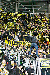 03.03.2015, Stadion Dresden, Dresden, GER, DFB Pokal, SG Dynamo Dresden vs Borussia Dortmund, Achtelfinale, im Bild Stimmung im BVB-Block vor dem Spiel // SPO during German DFB Pokal last sixteen match between SG Dynamo Dresden and Borussia Dortmund at the Stadion Dresden in Dresden, Germany on 2015/03/03. EXPA Pictures &copy; 2015, PhotoCredit: EXPA/ Eibner-Pressefoto/ Hundt<br /> <br /> *****ATTENTION - OUT of GER*****