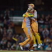 Australian wicket Keeper Brad Haddin celebrates the wicket of New Zealand batsman James Franklin during the Twenty20 International between Australia and New Zealand  at the Sydney Cricket Ground on the 15th February 2009. Australia won the thrilling match by one run. Photo Tim Clayton