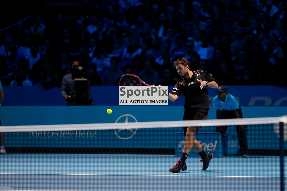 Stan Wawrinka's big forehand during a semi-final match between Roger Federer and Stan Wawrinka at the ATP World Tour Finals 2015 at the O2 Arena, London.  on November 21, 2015 in London, England. (Credit: SAM TODD | SportPix.org.uk)