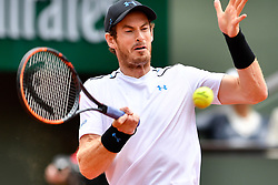PARIS, June 5, 2017  Andy Murray of Britain hits a return during the men's singles fourth round match against Karen Khachanov of Russia at the French Open Tennis Tournament 2017 in Paris, France, on June 5, 2017. (Credit Image: © Chen Yichen/Xinhua via ZUMA Wire)