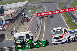 07.07.2013, Red Bull Ring, Spielberg, AUT, Truck Race Trophy, Renntag 2, im Bild Mika Maekinen, (FIN, Mika Maekinen, #7), Benedek Major, (Oxxo Energy Truck Race Team, #12) // during the Truck Race Trophy 2013 at the Red Bull Ring in Spielberg, Austria, 2013/07/07, EXPA Pictures © 2013, PhotoCredit: EXPA/ M.Kuhnke