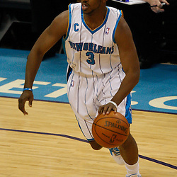 Mar 22, 2010; New Orleans, LA, USA; New Orleans Hornets guard Chris Paul (3) drives with the ball against the Dallas Mavericks during the first half at the New Orleans Arena. Mandatory Credit: Derick E. Hingle-US PRESSWIRE
