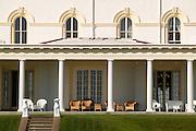 USA, Newport, RI - The Veranda at The Astor's Beachwood Mansion seen from the Cliff Walk.