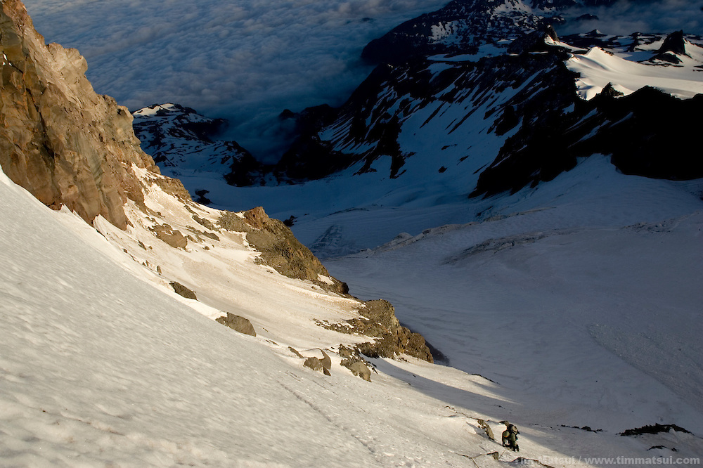 Climbing the Mt. Rainier via Ptarmigan Ridge.