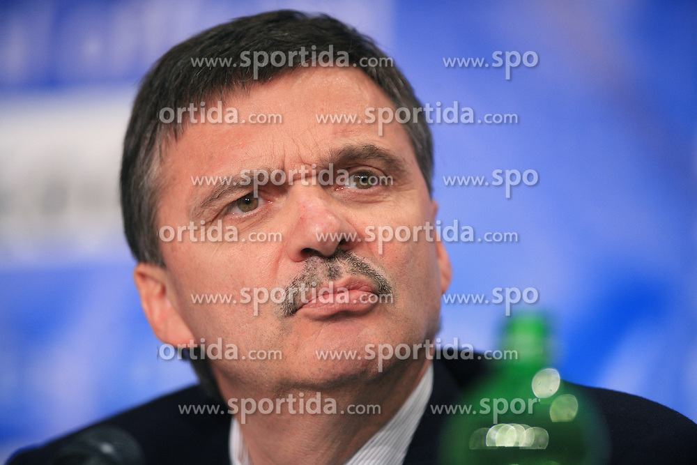 Rene Fasel, president of the IIHF,  at Press conference of IIHF at  IIHF WC 2008 in Halifax, on May 06, 2008 in Metro Center, Halifax, Nova Scotia, Canada. (Photo by Vid Ponikvar / Sportal Images)