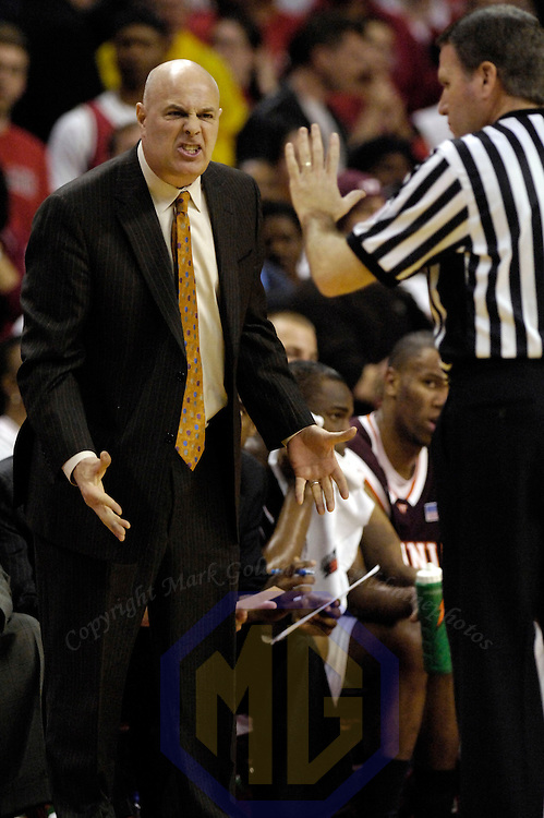 20 February 2008:   Virginia Tech head coach Seth Greenberg is assessed a technical foul by referee Carl Hess during the game against the University of Maryland Terrapins in the 1st half at the Comcast Center in College Park, Maryland.
