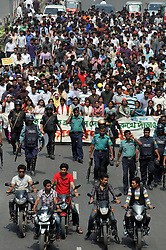 Bangladeshi students attend a procession protest against a countrywide general strike in Dhaka, capital of Bangladesh, March 4, 2013. At least three protesters were shot dead in Bangladesh when riot police clashed with demonstrators during a 48-hour strike called by Bangladesh s largest Islamist party Jamaat-e-Islami, demanding release of its leaders who face charges of war crimes, March 4, 2013.,  March 4, 2013. Photo by Imago / i-Images...UK ONLY