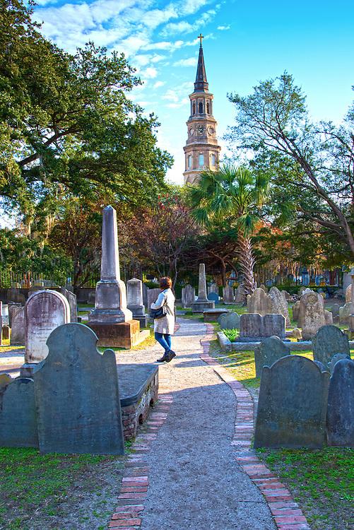 Charleston, South Carolina, Graveyard, Circular Congregational Church, Oldest English Burial Ground In Charleston, Spire Of St. Philip's Church, Model Released