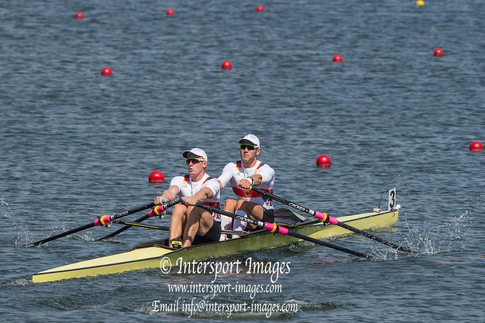 Rio de Janeiro. BRAZIL.   GER M2X. Bow. Marcel HACKER and Stephan<br /> KRUEGER, 2016 Olympic Rowing Regatta. Lagoa Stadium,<br /> Copacabana,  &ldquo;Olympic Summer Games&rdquo;<br /> Rodrigo de Freitas Lagoon, Lagoa. Local Time 12:00:06   Saturday  06/08/2016 <br /> <br /> [Mandatory Credit; Peter SPURRIER/Intersport Images]