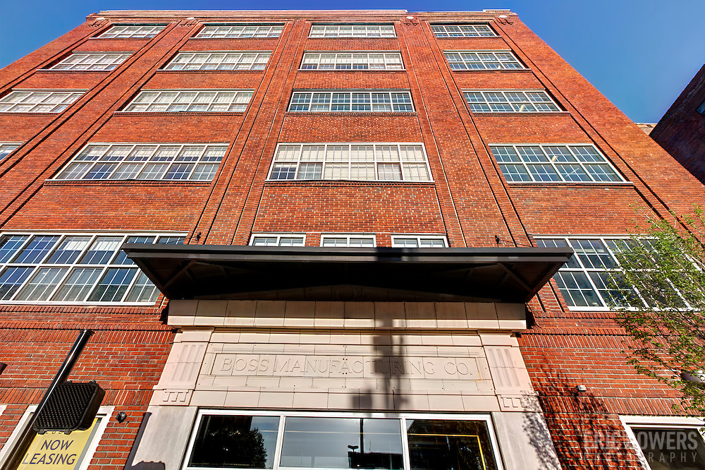 "Exterior photography of ""The Boss"" portion of Roasters Block redevelopment of former Folger's Plant in downtown Kansas City, Missouri."