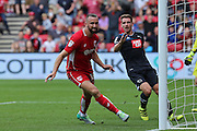 Bristol Aaron Wilbraham (18) scores the equalizer in the final minutes making in 1-1 during the EFL Sky Bet Championship match between Bristol City and Derby County at Ashton Gate, Bristol, England on 17 September 2016. Photo by Gary Learmonth.