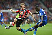 AFC Bournemouth's Matt Ritchie makes the tackle during the Barclays Premier League match between Bournemouth and Leicester City at the Goldsands Stadium, Bournemouth, England on 29 August 2015. Photo by Mark Davies.