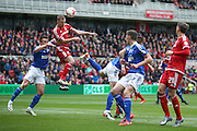 Middlesbrough forward Jordan Rhodes (9)  with a header  during the Sky Bet Championship match between Middlesbrough and Ipswich Town at the Riverside Stadium, Middlesbrough, England on 23 April 2016. Photo by Simon Davies.