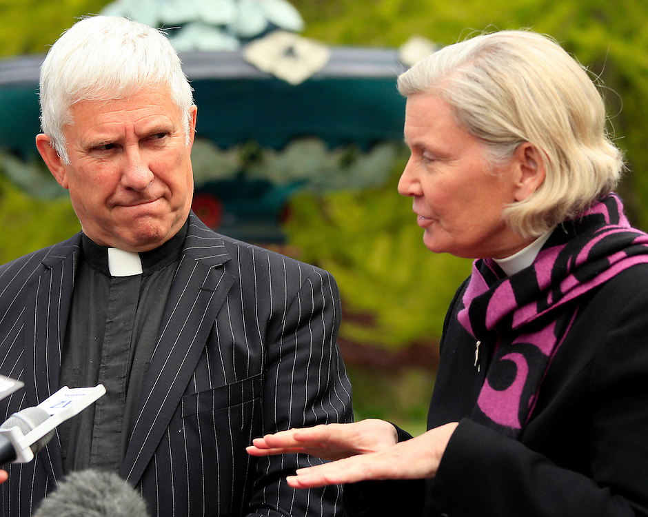 Dean Peter Beck and Bishop Victoria Matthews at a press conference on the future of the Christchurch Cathedral, Christchurch, New Zealand, Friday, October 28, 2011.  Credit:SNPA / Pam Johnson