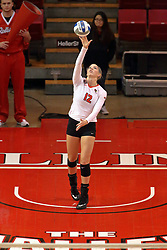 06 November 2015:  Aly Dawson(12) during an NCAA women's volleyball match between the Bradley Braves and the Illinois State Redbirds at Redbird Arena in Normal IL (Photo by Alan Look)