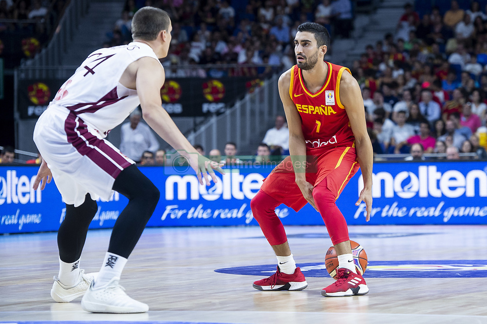 September 17, 2018 - Madrid, Spain - Jaime Fernandez of Spain and Andrejs Grazulis of Latvia during the FIBA Basketball World Cup Qualifier match Spain against Latvia at Wizink Center in Madrid, Spain. September 17, 2018. (Credit Image: © Coolmedia/NurPhoto/ZUMA Press)