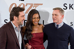 (LtoR) Actors Javier Bardem, Naomie Harris and Daniel Craig, during last nights Madrid premiere of the latest Bond movie 'Skyfall', Spain, Madrid, October 28, 2012.  Photo by Oscar Gonzalez / i-Images...SPAIN OUT
