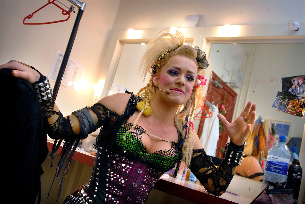 UK. London. We Will Rock You, the Musical by Queen and Ben Elton, being performed in London's Dominion Theatre..Photo shows Rachael Wooding who plays meat in her dressing room and backstage..Photo©Steve Forrest/Workers' Photos