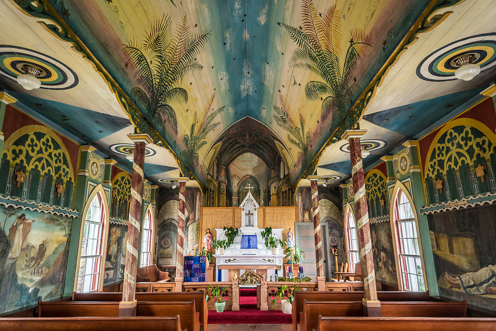 "Interior of Saint Benedict's Catholic Church, the ""Painted Church"", Honaunau, South Kona, Big Island of Hawaii."