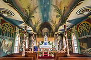 "Interior of Saint Benedict's Catholic Church, the ""Painted Church"", Honaunau, South Kona, Big Island of Hawaii."