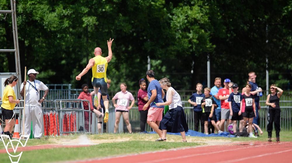 Metro Blind Sport's 2017 Athletics Open held at Mile End Stadium.  Long jump.  Amir Kamali-Sarvestani<br /> <br /> Picture: Chris Vaughan Photography for Metro Blind Sport<br /> Date: June 17, 2017