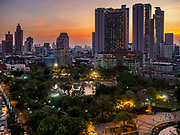 08 MARCH 2019 - BANGKOK, THAILAND: Sunset over Bangkok with Benchasiri Park in foreground as seen from the EmQuartier, an upscale mall on Sukhumvit Rd.    PHOTO BY JACK KURTZ