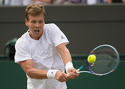 LONDON, ENGLAND - Wednesday, July 6, 2016:   Tomas Berdych (CZE) during the Gentlemen's Single Quarter Final match on day ten of the Wimbledon Lawn Tennis Championships at the All England Lawn Tennis and Croquet Club. (Pic by Kirsten Holst/Propaganda)