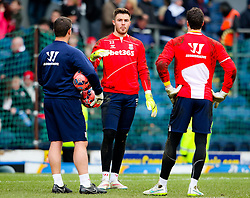 Stoke City's Jack Butland warms up with Stoke City's Asmir Begovic - Photo mandatory by-line: Matt McNulty/JMP - Mobile: 07966 386802 - 14/02/2015 - SPORT - Football - Blackburn - Ewood Park - Blackburn Rovers v Stoke City - FA Cup - Fifth Round