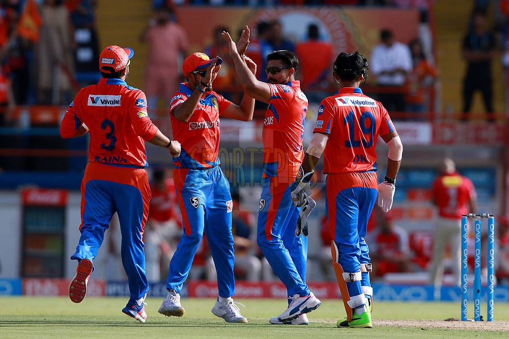 Ravindra Jadeja of Gl celebrates the wicket of Glenn Maxwell of KXIP during match 26 of the Vivo 2017 Indian Premier League between the Gujarat Lions and the Kings XI Punjab held at the Saurashtra Cricket Association Stadium in Rajkot, India on the 23rd April 2017<br /> <br /> Photo by Rahul Gulati - Sportzpics - IPL