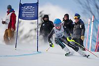 Alyona Latsilnik competes in the annual Gus Pitou giant slalom with the Gunstock Ski Club on Sunday.  (Karen Bobotas/for the Laconia Daily Sun)