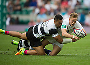 Twickenham, Surrey, United Kingdom.  Mike Haley and Baa Baa's Robbie FRUEAN, going for the same  ball, during the, Old Mutual Wealth Cup, England vs Barbarian's match, played at the  RFU. Twickenham Stadium, on Sunday   28/05/2017England    <br /> <br /> [Mandatory Credit Peter SPURRIER/Intersport Images]