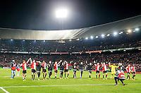 ROTTERDAM - Feyenoord - AZ , Voetbal , Seizoen 2015/2016 , Halve finales KNVB Beker , Stadion de Kuip , 03-03-2016 , Feyenoord spelers bedanken de trouwe supporters