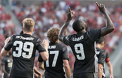 July 17, 2017 - Sandy, Utah, United States - Manchester United forward ROMELU LUKAKU (9) celebrates his first ever goal for the Red Devils in the first half of their friendly match against Real Salt Lake at Rio Tinto Stadium in Sandy, Utah, USA on Monday, July 17, 2017. (Credit Image: © Michael Mangum via ZUMA Wire)
