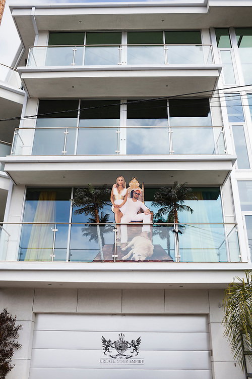 Bastian Yotta and his wife Maria Yotta live what they call the &quot;Yotta Life&quot; in LA. Here, a life size photo of them on one of their balconies of their home in Hollywood Hills, overlooking Los Angeles California, USA.<br /> <br /> Photo by Knut Egil Wang/VG/MOMENT/INSTITUTE