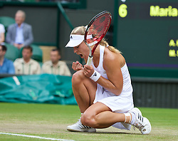 01.07.2014, All England Lawn Tennis Club, London, ENG, WTA Tour, Wimbledon, im Bild Angelique Kerber (GER) celebrates during the Ladies' Singles 4th Round match on day eight // during the Wimbledon Championships at the All England Lawn Tennis Club in London, Great Britain on 2014/07/01. EXPA Pictures © 2014, PhotoCredit: EXPA/ Propagandaphoto/ David Rawcliffe<br /> <br /> *****ATTENTION - OUT of ENG, GBR*****
