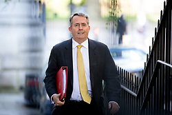 © Licensed to London News Pictures. 01/05/2018. London, UK. International Trade Secretary Liam Fox arriving in Downing Street to attend a Cabinet meeting this morning. Cabinet positions have recently shuffled around, following Amber Rudd's resignation as Home Secretary, following the Windrush scandal. Photo credit : Tom Nicholson/LNP