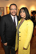 May 7, 2012- New York, NY United States: - (L-R) Dr. Michael Eric Dyson and wife Rev. Marcia Dyson attend the post-reception for the Theater Talks at the Schomburg: A Streetcar Named Desire held at the Schomburg Center for Research in Black Culture, part of the New York Public Library on May 7, 2012 in Harlem Village, New York City. The Schomburg Center for Research in Black Culture, a research unit of The New York Public Library, is generally recognized as one of the leading institutions of its kind in the world. For over 80 years the Center has collected, preserved, and provided access to materials documenting black life, and promoted the study and interpretation of the history and culture of peoples of African descent.  (Photo by Terrence Jennings) .