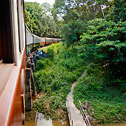 Kuranda Tour in Cairns surroundings. Kuranda is a village in the rainforest. The Kuranda Scenic Railway, old train in the rainforest, from Cairns to Kuranda.
