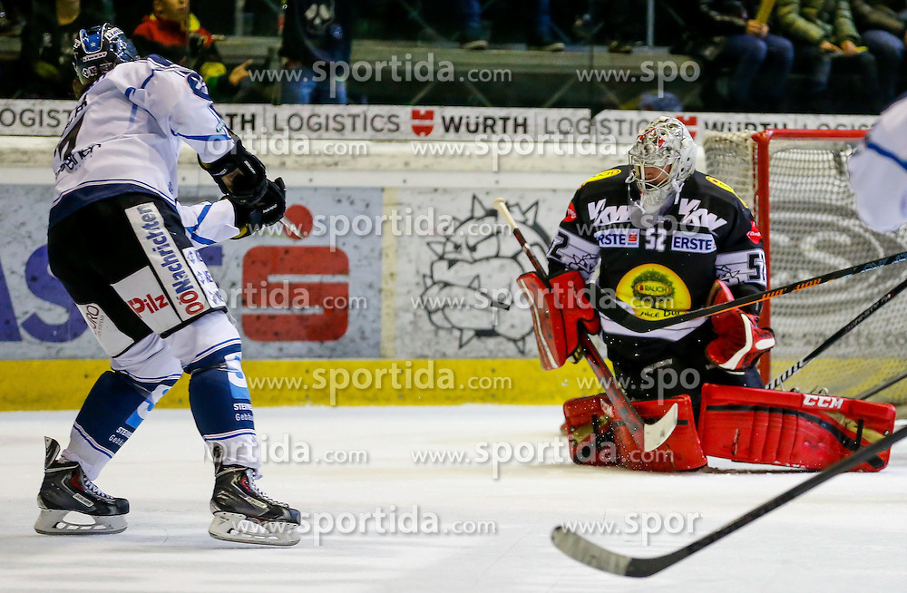 21.11.2014, Messestadion, Dornbirn, AUT, EBEL, Dornbirner EC vs EHC Liwest Black Wings Linz, 19. Runde, im Bild Nathan Lawson, (Dornbirner EC, #52)// during the Erste Bank Icehockey League 19th round match between Dornbirner EC and EHC Liwest Black Wings Linz at the Messestadion in Dornbirn, Austria on 2014/11/21, EXPA Pictures © 2014, PhotoCredit: EXPA/ Peter Rinderer