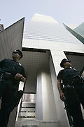 "New York, NY, USA, 2004-08-01: The Department of Homeland Security warned Sunday of possible terrorist attacks against ""iconic"" financial institutions in New York City, Washington and Newark, N.J. The New York Stock Exchange (NYSE) and the World Headquarters of Citigroup are among the potential targets.<br /> <br /> NYPD Private Officers Wood and Garfald standing guard outside the office tower and headquarter of Citigroup at 53rd and Lexington Avenue in New York.<br /> <br /> Photo: Orjan F. Ellingvag/ Corbis  *** Local Caption ***"