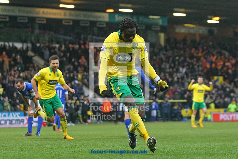 Picture by Paul Chesterton/Focus Images Ltd +44 7904 640267.23/02/2013.Kei Kamara of Norwich scores his sides equalising goal and celebrates during the Barclays Premier League match at Carrow Road, Norwich.