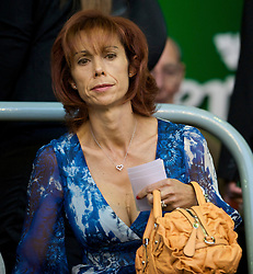 LIVERPOOL, ENGLAND - Monday, August 24, 2009: Maria di Montserrat Benitez, wife of Liverpool manager Rafael, before the Premiership match against Aston Villa at Anfield. (Photo by David Rawcliffe/Propaganda)