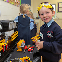 Oisin Galvin gets to work at the tool station on his First day at school at Scoil Na Mainistreach Quin Dangan