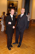 Philip Hoare and Neil Tennant, Opening of the Satchi Gallery, County Hall. 15 April 2003. © Copyright Photograph by Dafydd Jones 66 Stockwell Park Rd. London SW9 0DA Tel 020 7733 0108 www.dafjones.com