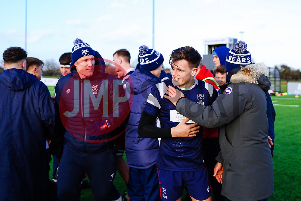 Ian Madigan congratulates Tom Wilstead of Bristol Bears U18 after Bears U18 win 18-17 - Rogan/JMP - 14/12/2019 - RUGBY UNION - Shaftesbury Park - Bristol, England - Bristol Bears U18 v Bath Rugby U18 - Premiership Rugby U18 Academy League.