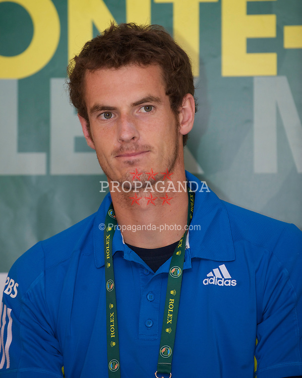 MONTE-CARLO, MONACO - Monday, April 12, 2010: Andy Murray (GBR) at a press conference following his 6-1, 7-5 Men's Doubles 1st Round victory at the ATP Masters Series Monte-Carlo at the Monte-Carlo Country Club. (Photo by David Rawcliffe/Propaganda)